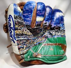 """Hand painted mural of Dodger Stadium on a 1940's era Baseball Glove by Artist """"George Lopez""""  This is truly an artistic Masterpiece and a Beautiful Work of Art that captures in detail a night out under the lights at the Ballpark. -View 1"""