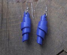 Boucles d'oreilles Cocon cuir Bleu Tiges argent 925