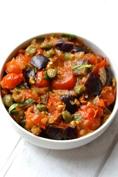 This eggplant caponata is fast and easy to make and is bursting with flavours. Incredibly versatile it& great as a side dish, sauce, dip or appetiser. Vegetable Dishes, Vegetable Recipes, Vegetarian Recipes, Healthy Recipes, Veggie Meals, Paleo Eggplant Recipes, Healthy Foods, Vegan Eggplant, Veg Dishes