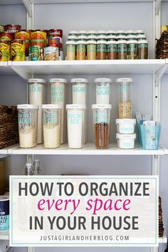 Learn how to organize every space in your house with one simple system. Click through to the post to read more!