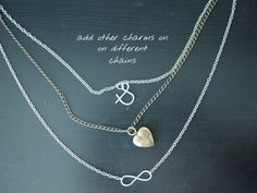 DIY Layered Necklace!! Cool idea... Also shows cool way to make simple charms!