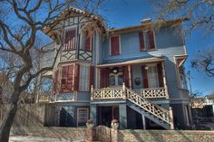 Mather House on Winnie Street near Street in East End Historic District. Victorian Homes, Victorian Era, Republic Of Texas, Mexico, Galveston Texas, Cabin, Mansions, House Styles, Star