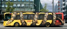 Creative vehicle wrap design for a bus.