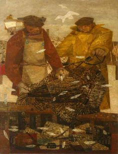 Fisherman with Sprats by Prunella Clough Date painted: 1948 Oil on canvas, x cm Collection: Pembroke College Oxford JCR Art Collection Sea Pictures, Art Uk, Your Paintings, Figure Painting, All Art, Modern Art, Contemporary, Oil On Canvas, Art Gallery