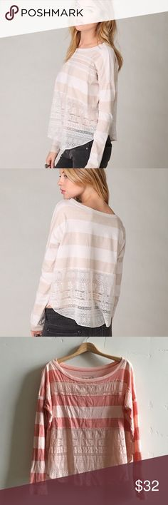 Free People Stripe & Lace Top *Coral/ Peach* Free People's We The Free label long sleeve bold stripe and lace top in coral and peach.  First two photos are same top in different color to show fit.  Last two photos are top I'm selling.  In excellent condition. Free People Tops