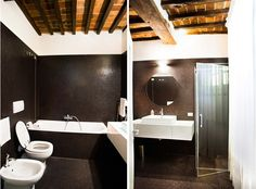 OPERASTUDIO - Project - Interior renovation - #Tuscany #villa #black #bathroom