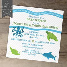 Under+the+Sea+Creature+Baby+Shower+Invitation+/+by+greylein,+$14.99
