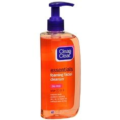 Clean & Clear Essentials Foaming Facial Cleaner. This cleanser made my face feel sticky after I used it, so I don't like it. I've been using it as shower gel, actually, and it's still not great. I think this is the first Clean & Clear product I don't like.