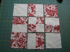 "Like the red and white theme for a quilt. Starts with 4 - 6"" squares."