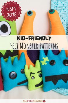 Day 25 of NSM: This fun project is great for kids! We have a full tutorial on how to make at least 10 different felt monster designs - all with free printable templates. It's an awesome and easy page. Felt Crafts Patterns, Sewing Patterns For Kids, Sewing Projects For Kids, Fun Projects, Couch Monster, Felt Monster, Monster Toys, Yarn Crafts For Kids, Printable Templates