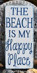 beach décor rustic beach signs hand painted nautical decorations home wall art the beach is my happy place coastal #rustichomedecor
