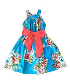 Another great find on #zulily! Blue Floral A-Line Dress - Toddler & Girls #zulilyfinds