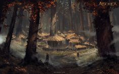 Forest Village by Nele Diel : ImaginaryVillages Fantasy concept art Fantasy art landscapes Fantasy village