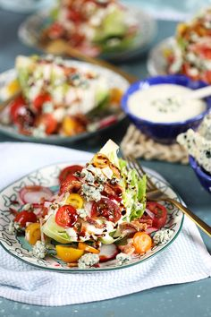 Lower Excess Fat Rooster Recipes That Basically Prime Loaded Iceberg Wedge Salad Recipe Topped With Tangy Tomatoes, Bacon, Crumbled Blue Cheese And Radishes Before Being Drenched In Both Blue Cheese Dressing And Balsamic Glaze Quick Salad Recipes, Wedge Salad Recipes, Salad Recipes For Dinner, Healthy Recipes, Iceberg Wedge Salad, Salad Toppings, Blue Cheese Dressing, Best Side Dishes, Balsamic Glaze