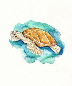 Sea Turtle/Watercolor print/teal/light green/aqua/tan/sea/ocean life/ Archival Print. $20.00, via Etsy.