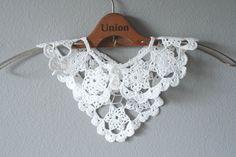 Crochet Collar, Vintage Handmade, White Lace Bib Collar, Crochet Necklace