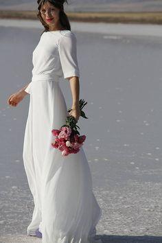 Delicate Dress / Best Seller Dress / Wedding Dress / Backless Dress / Maxi Dress / Boho wedding Dress / Chiffon Dress / Casual Wedding Dress - Source by - Wedding Dress Chiffon, Modest Wedding Dresses With Sleeves, Wedding Dresses Plus Size, Bridal Dresses, French Wedding Dress, Chiffon Dress Long, Floral Wedding, Fall Wedding, Minimal Wedding Dress