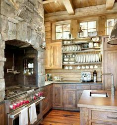 Mountain home kitchen open shelving for dishware