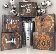 Fall wood block set Fall rustic signs Thanksgiving wood block set Thanksgiving decor Fall decor Fall blocks Seasonal home decor fall by CoastalCraftyMama on Etsy Home Decor Signs, Fall Home Decor, Autumn Home, Thanksgiving Crafts, Thanksgiving Decorations, Fall Crafts, Fall Decorations, 2x4 Crafts, Rustic Thanksgiving