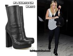 Lindsay Lohan wearing Alexander Wang Tasha bandage leather boots
