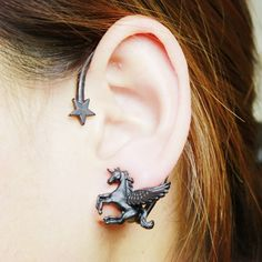Exquisite Magical Pegasus Star Unicorn earrings ear hanging single 3 colors for fashion girl unique gift E0209