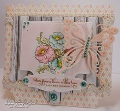 It is another wonderful Timeless Tuesday Challenge over at Flourishes & Cindy Haffner is this weeks hostess & she created this beautiful card. For her card she used several products from Flourishes such as our Botanical Bookplates Vol. 2 stamp set, Grommet Tags, Cotton Dentelle Trim (Ecru), Creative Book Pages, Prima Crystals (Harvest), & Flourishes Copic Collections in Water, Dagwood, and Buttercup. Be sure to check out Flourishes and her Blog for more detalis.