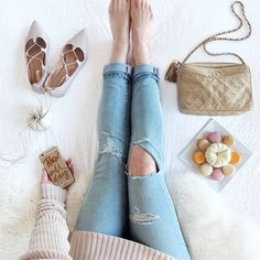 Flat lay inspiration, fashion blogger overhead shot featuring cozy fall pieces.