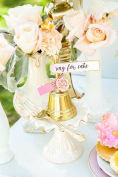 """""""Ring for cake"""" bell from a Marie Antoinette Inspired Bridal Shower on Kara's Party Ideas   KarasPartyIdeas.com (31)"""
