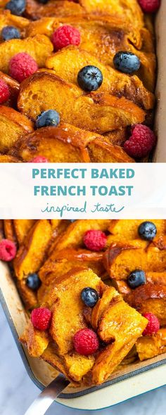 This easy baked French toast casserole is lightly spiced, slightly sweet, perfectly soft in the middle, and has a buttery crisp top. Milk Recipes, Top Recipes, Cooking Recipes, Recipies, Baked French Toast Casserole, French Toast Bake, Breakfast Casserole, Overnight French Toast, Date Night Recipes