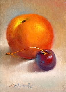 """Peach with Red Cherry 7""""x5"""" Original Oil on panel HALL GROAT II"""