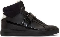 Fendi Black Leather & Croc High-Top Sneakers