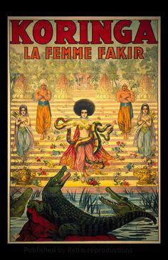Koringa, French Woman Magician - Original circus Stone Lithograph