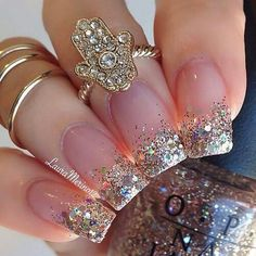 Glitter Nails Acrylic Sparkle, Glittered Gold, Gold Glitter Nails Acrylic, Sparkle Tipped, Acrylic Nails Tips is part of Gel nails Babyboomer French Manicures - Gel nails Babyboomer French Manicures Fancy Nails, Love Nails, Style Nails, Gorgeous Nails, Pretty Nails, Gel Nails, Nail Polish, Nail Nail, Acrylic Nails