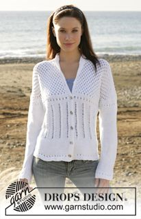 "DROPS 101-22 - DROPS jacket with collar and lace pattern in ""Muskat"" - Free pattern by DROPS Design"