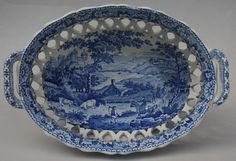 Antique Pottery Pearlware Blue Transfer Swansea Cambrian Ladies Basket 1820 | eBay