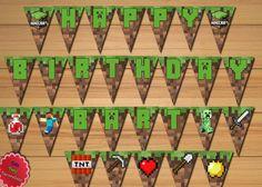 Custom Minecraft Inspered Birthday by CutePartyDecorations on Etsy
