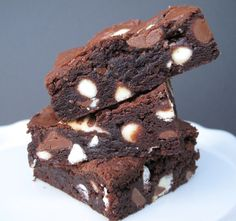Hugs and Kisses Brownies- chewy fudge brownie with Hershey's Hugs and Kisses......desert safe recipe