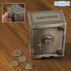 NEW! Personalized Pewter Safety Vault Bank - Keep money 'safe' in this attractive vault! Metal vault with pewter finish features a coin slot on the back, and combination lock on the front. Hinged door swings open to retrieve your savings. (Product Number LB88634) 	$39.98 CAD