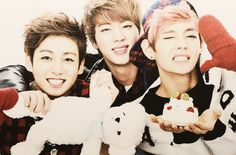 Jungkook <3 Jin <3 V <3 This is sooo cute! *__* / agree ♡♡♡