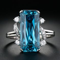 Blue Zircon and Diamond Ring, c. 1940s-1950s