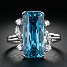 Blue Zircon and Diamond Ring, ca. 1950-60s