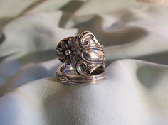 Daisy Sterling Spoon Ring 1904 Blackinton by TreasureGrotto, $65.00