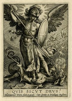 Published by Johannes Colaert Print made by Hieronymus Wierix Date 1619 (after) Description St Michael triumphing over the dragon; St Michael, holding a spear and a shield, seen standing on a dragon, piercing his mouth with the spear. St. Michael, Michael Angel, Saint Michael, Catholic Art, Religious Art, Angel Warrior, Religious Tattoos, Desenho Tattoo, Guardian Angels
