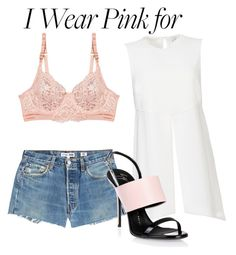 """#IWearPinkFor"" by moria801 ❤ liked on Polyvore featuring Elizabeth and James, STELLA McCARTNEY, RE/DONE, Giuseppe Zanotti and IWearPinkFor"