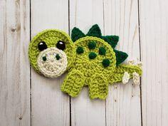 Jurassic Classic Vol. 2 Applique Pack- Crochet Pattern Only- Dinosaurs- Baby Dinos- Baby Dinosaurs- Stegosaurus- Crochet Applique Pattern Cute Crochet, Crochet For Kids, Crochet Crafts, Yarn Crafts, Crochet Toys, Crochet Projects, Crochet Applique Patterns Free, Crochet Motif, Crochet Flowers