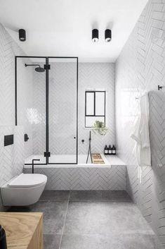 Small Bathroom Renovations 726416614876779373 - Simple modern bathroom with white subway tile herringbone on walls and tub. Modern Bathroom Design, Bathroom Interior Design, Modern House Design, Modern Interior Design, Bathroom Designs, Modern Decor, Toilet And Bathroom Design, Simple Modern Interior, Apartment Bathroom Design