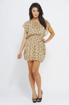 Polka Dot Print Chiffon Dress
