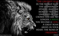 EmilysQuotes.Com - wisdom, freedom, fear, amazing, great, lion, Inspirational, motivational