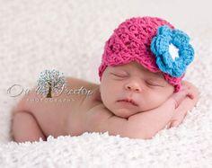 NEWBORN Hat 0 to 1 Months Baby Girl Hat by ChunkyMonkeyBeanies