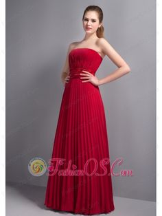 Romantic Red Empire Strapless Bridesmaid Dress Chiffon Pleat Floor-length- $119.89  http://www.fashionos.com  http://www.youtube.com/user/fashionoscom?feature=mhee  If timeless romance is what you`re after, feast your eyes on this glorious pretty maids strapless A-line gown! The wide satin ribbon belts the waist in before tying over the left shoulder and streaming down toward the knees. As for the skirt, it sweeps simply to the floor.